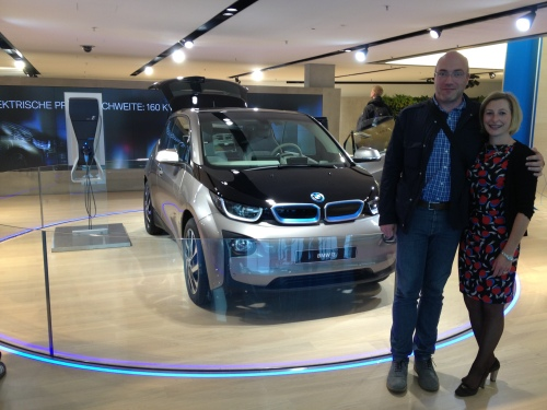 The new BMW i3 at BMW Weld with my cousins Filip and Mia.