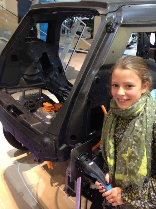 The i3 is an electric car with electric motor in the rear.  (My cousin Zoe is charging!)
